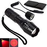 Red Light LED Flashlight Rechargeable Torch Zoomable Red LED Torch for Night Observations