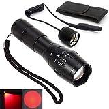 Torcia a LED ricaricabile, luce rossa con zoom, luce per escursioni notturne, astronomia, navigazione notturna