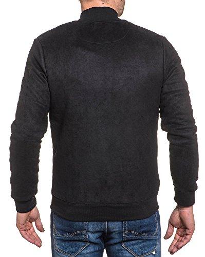 Gov Denim - Reißverschlussjacke schwarz Mann Pfirsichhaut-Effekt Schwarz