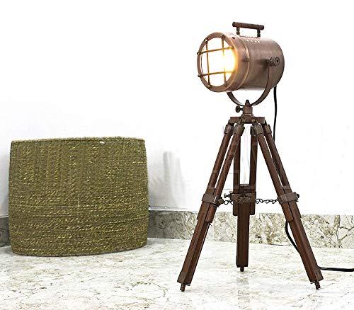 Trípode lámpara de pie luz Retro Marino Antiguo Escritorio Spotlight Lámpara de mesa acabado en cobre