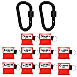 Gimars 10PCS Rescue Mask CPR Resuscitation Emergency Face Shield With Keychain Ring key ring pouch +Black Carabiner for First Aid or CPR Training
