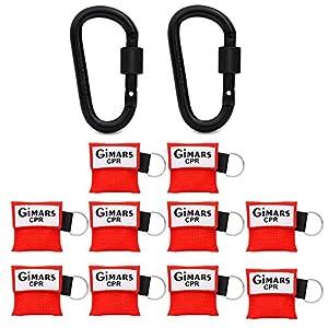 Gimars CPR Maske mit Karabinerhaken CPR Mask RESPI-Key Beatmungsmaske Schlüsselanhänger Beatmungshilfe Notfalltuch Taschenmaske Erste Hilfe