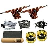 Amok \'Longboard ejes Set Advanced Trucks Downhill 7180mm Brown | Amphetamine Ceramics Silver Rodamientos | 75mm Bigfoot Wheels Yellow | inkl hardware & Grip Tape
