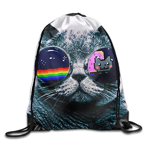 HLKPE Rainbow Cat Unisex Gym Drawstring Shoulder Bag Backpack String Bags