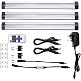 LE Dimmable Under Cabinet Lighting, 3 Panel Deluxe Kit, Total of 12 Watt, 12 V DC, 900lm, Warm White, 24W Fluorescent Tube Equivalent, All Accessories Included, LED Light Bar, Strip lights