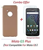 YuniKase (COMBO OFFER) Motorola Moto G5 Plus / Moto G5 Plus - - - All Sides Protection '360 Degree' Sleek Rubberised Matte Hard Case Back Cover (Gold) + Premium Tempered Glass Mobile Screen Protector - - - (Transparent) (Not Compatible for MOTO G5)