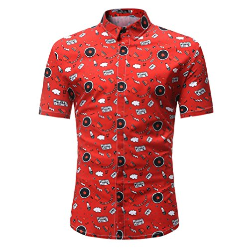 Hemd bubbles Herren Regulär Geschnittenes Kurzarm-Hawaii-Hemd … (L, rot) (70er Jahre T Shirts)