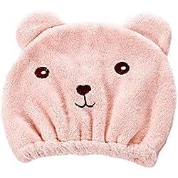 spritumn Kawaii oso para cabello seco sombrero super absorbente toalla de secado de pelo Wrap gorro tejido de microfibra suave rápida secador de Magic envuelto baño gorro de ducha toalla de salón, B, Talla única