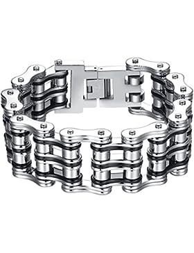 Aoiy Herren-Armband, Schwarz und Silberfarbenen Fahrradkette, Edelstahl, Extra Groß und Schwer, 23cm, ccb025