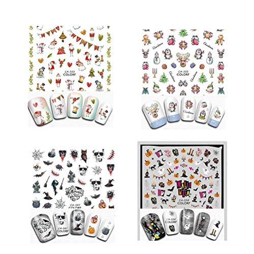 Supvox 8 Blatt Halloween Weihnachten Nail Sticker, selbstklebende 3D Metallic DIY Nail Art Tips Schablone, Nail Art Water Tattoo Sticker Decals