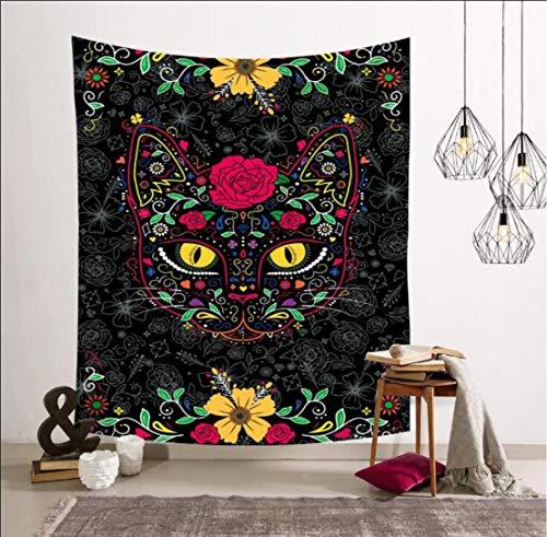 xkjymx Wohnzimmer Tapisserie Schwarze Katze Muster wandbehang Strandtuch Strand Kissen Bild Farbe 150 * 200