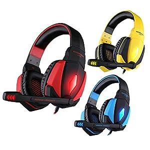 KARTELEI USB Stereo Gaming Kopfhörer Headset Stirnband mit Mikrofon Lautstärkeregler LED-Licht für PC-Spiel