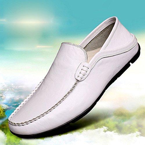 Gaorui Männer Weichsohlen Müßiggänger Freizeitschuhe beiläufige lederne Schuhe Mokassins Leder Schuhe Weiß