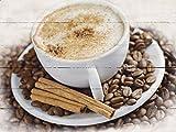 Artland Wand-Bild geweißtes Holz-Bild digital bedruckt mit Motiv haveseen Cappuccino - Kaffee Ernährung & Genuss Getränke Kaffee Fotografie Braun 60 x 80 x 4,2 cm D1KC