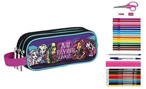Monster High Federmappe Federtasche Federmäppchen gefüllt 23 Stück (High Bleistifte Monster)