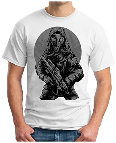 OM3 - DARK-SOLDIER - T-Shirt SÖLDNER WAR GUN STAR FIGHT FORCE US ARMY RETRO VINTAGE Weiß