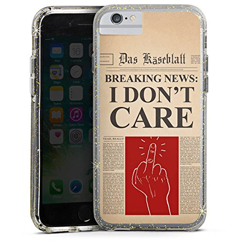 Apple iPhone 6s Plus Bumper Hülle Bumper Case Glitzer Hülle News Saying Phrase Bumper Case Glitzer gold