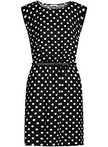 oodji Ultra Damen Ärmelloses Kleid aus Bedruckter Viskose Schwarz (2912D)