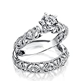 Silver Vintage Style .75ct CZ Engagement Wedding Ring Set