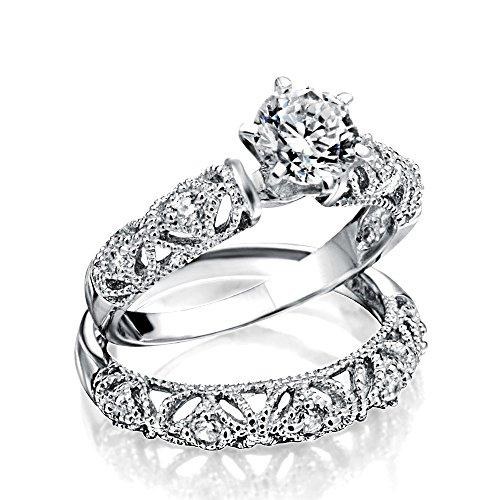 Vintage-Stil 1 Ct Runde Solitär Milgrain Aaa Cz Verlobung Ehering Ring Set Für Damen 925 Sterling Silber