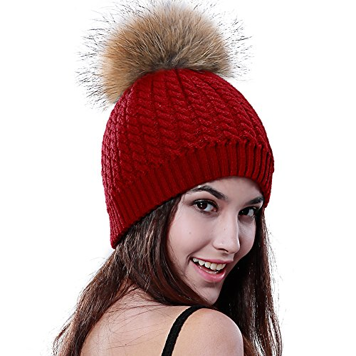 Rote Beanie Pom Mit (Damen Beanie Hüte Wärme Winter Ski Mütze mit Pom Bobble)