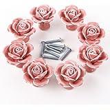 8pcs Pomo de Cerámica para puerta de Armario Tirador de Mueble Tiradores Puertas para Cajones Manilla de Diamante 4mm Estilo Rosa