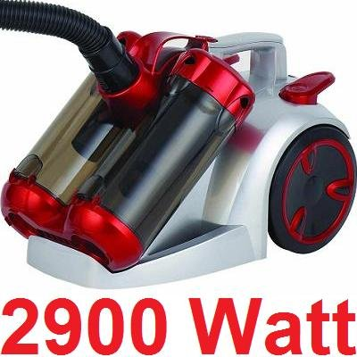 Syntrox Germany VC-2900W Doppel Cyclone Staubsauger Silber/Rot