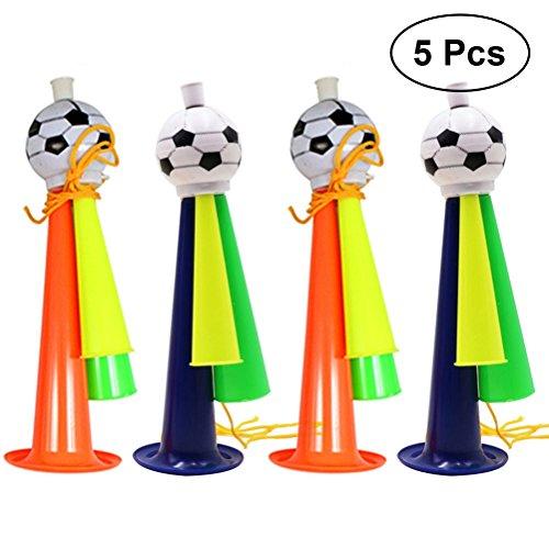 STOBOK 5 Stücke World Cup Lautsprecher Fußball Fans Trompete Spiel Party Konzert Horn Kunststoff Ornamente Größe L (Gelegentliche Farbe)