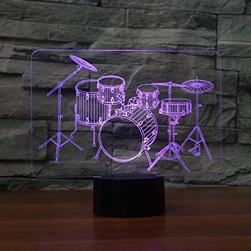 3D Nacht Led Nachtlicht Trommel Kit Rock 7 Farben Ändern Baby Schlaf Beleuchtung Licht Dekor Kinder Geschenke Tischlampe