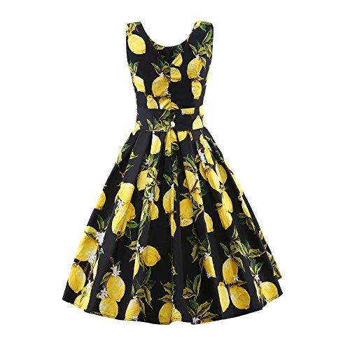 iLover Damen 50s Rockabilly Jahrgang Hepburn Stil Lemon Druck Abend Partei Ballkleid Kleid Schwarz