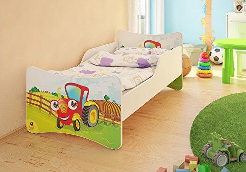 Preisvergleich Produktbild BEST FOR KIDS KINDERBETT MIT 10 CM MATRATZE TÜV ZERTIFIZIERT SUPER AUSWAHL 8 GRÖßEN VIELE DESIGNS (70x140, Traktor)