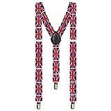 Taffstyle® Elastische Y Form Hosenträger mit 3 Clips und verstellbare Länge - Fanartikel für Fussball Weltmeisterschaft WM Fußball EM Europameisterschaft 2016 mit Flagge Motiv Style - Land: UK