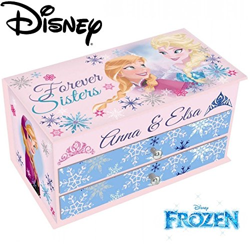 Frozen 10.5 x 19 x 9.5 cm Large Jewellery Box with Mirror, Baby Pink