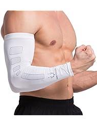 Codo almohadillas manicotti mangas ciclismo baloncesto calentadores de brazo protección UV, Blanco