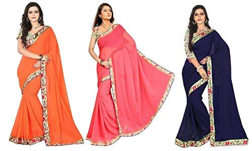 Aashi Saree Exclusive Pack Of 3 Plain Chiffon Lacy Border Sarees (Navy Blue