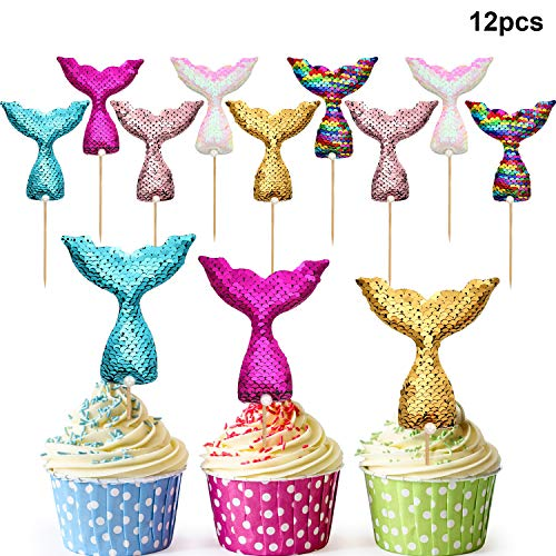 rau Schwanz Kuchen Topper Wiederverwendbare Pailletten Meerjungfrau Kuchen Dekoration für Geburtstag Party Baby Dusche Hochzeit ()