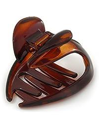 Pinza para el pelo en acrílico de diseño de mariposa de tamaño mediano y de color marrón–50mm de ancho