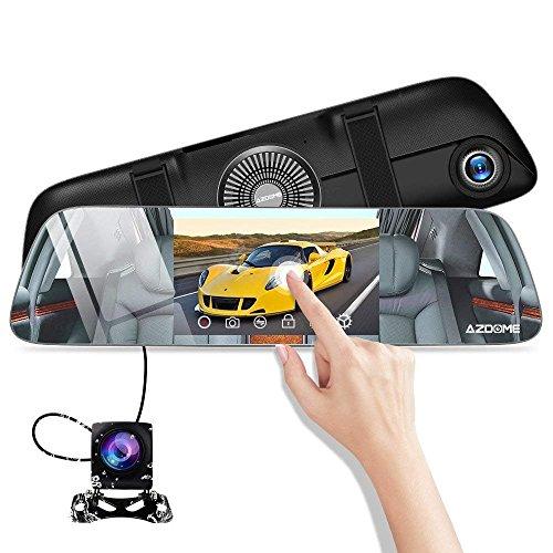 """AZDOME 5.5\"""" IPS Touchscreen Spiegel Dashcam mit Rückfahrkamera[1080P, 170°Vorne&720P, 120°Hinten] FHD Autokamera mit Dual Lens, Parkhilfe, WDR, Nachtsicht, Loop-Aufnahme, G-Sensor, Parkmonitor (PG01)"""