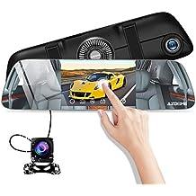 Cámara de Coche 5.5 Pulgadas IPS Pantalla Táctil FHD 1080P,Espejo Retrovisor con Cámara de