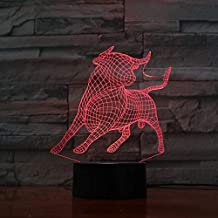 Luz Nocturna 3D Taurina Luz Nocturna Led Ilusión 3D 7 Colores Sensor Táctil Habitación Decoración Dormitorio