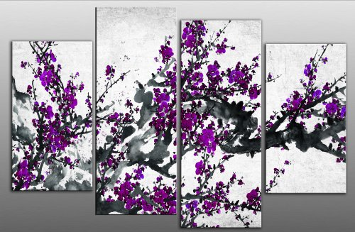 "Large Chinese Plum Purple Blossom Floral Painting Canvas artwork 4 pieces multi panel split canvas completely ready to hang hanging cord attached, hanging template included for easy hanging, hand made printed to order UK company 40"" width 28"" height"