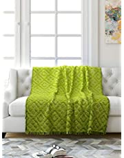 Saral Home Soft Cotton Unique Design Tufted Throw/Sofacover -140x160 cm, Green