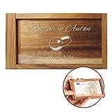 Caja mágica para regalos de dinero – Con grabado – Caja personalizada con [nombres] y [fecha] – Motivo [Anillos de boda]