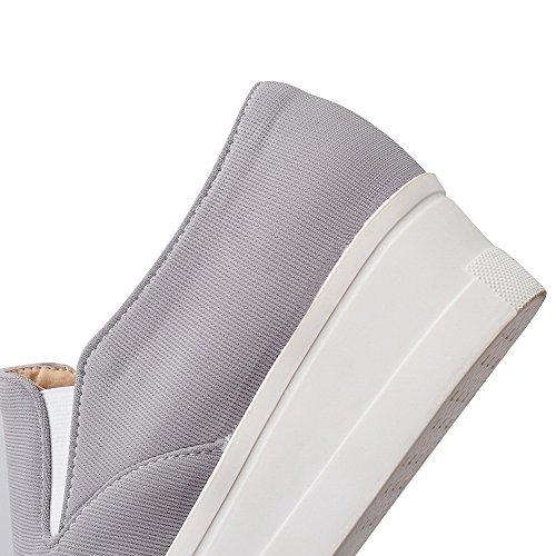 AllhqFashion Damen Gewebe Niedriger Absatz Rund Zehe Rein Ziehen Auf Pumps Schuhe Grau