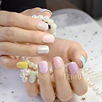 EchiQ 240pcs Fashion Candy Color False Nails Tips Short Full Cover Fake Artificial Nails Manicure Nail Tips Pink Yellow Green Blue 10 Colors