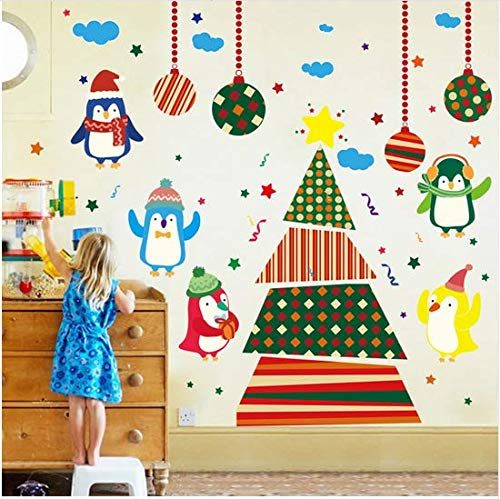 Newberli Pvc Aufkleber Removable Weihnachtsbaum Pinguine Wandaufkleber Für Fenster Glastür Dcoration