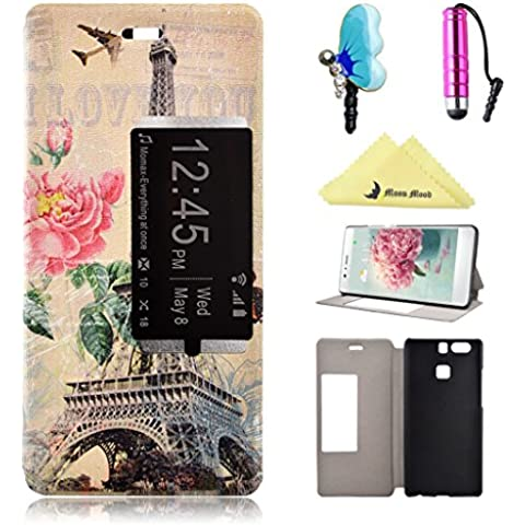 Cover per Huawei P9 View Window Custodia Case, Moon mood® Flip Wallet Stand Pelle PU Custodie Cover Per Huawei P9