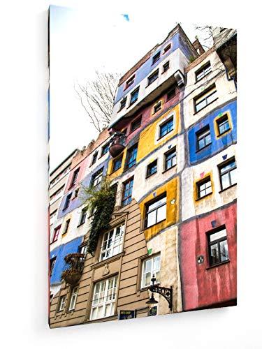 Die Ansicht des Hundertwasserhaus in Wien, Österreich - 50x75 cm - Leinwandbild auf Keilrahmen - Wand-Bild - Kunst, Gemälde, Foto, Bild auf Leinwand - Städte & Reise
