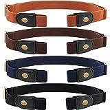 4 Piezas de Cinturón Elástico sin Hebilla Cinturón Invisible de Unisex para Pantalones Vaqueros