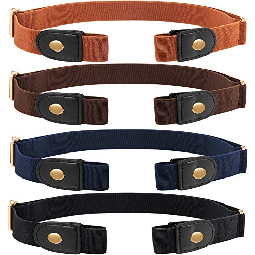 4 Piezas de Cinturón Elástico sin Hebilla Cinturón Invisible de Unisex para Pantalones Vaqueros (Dorado)